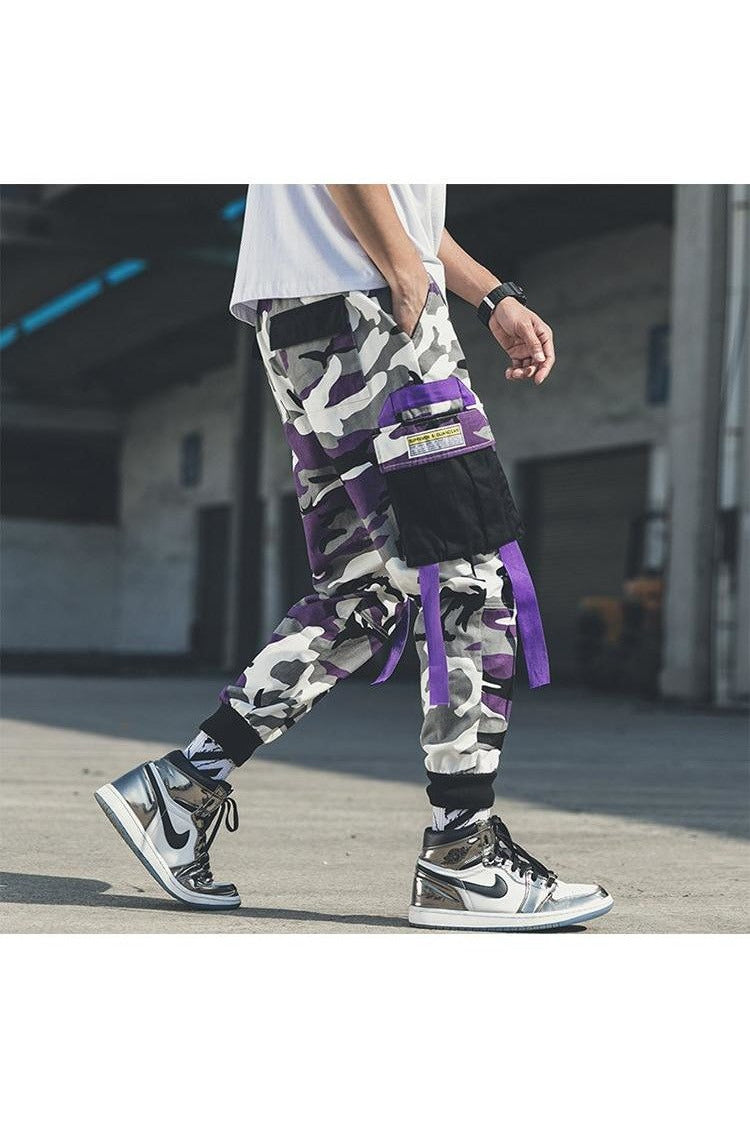 Camouflage Cargo Overalls Joggers Patchwork Belted Pants