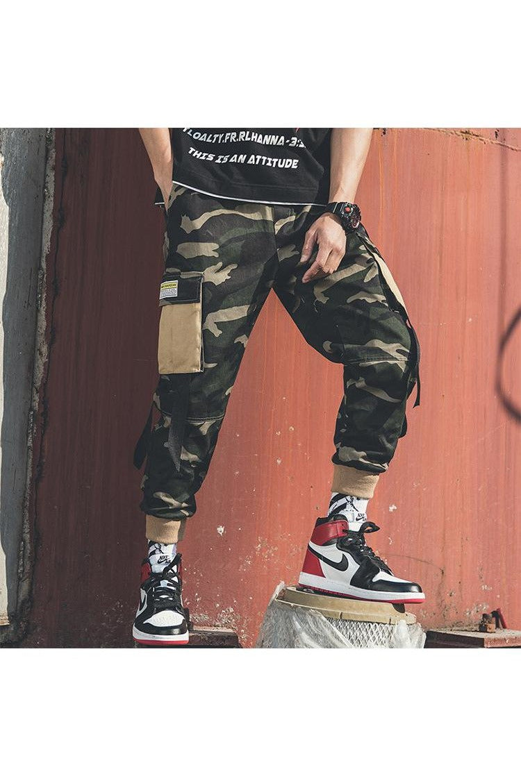 Multi Color Contrast Pockets Camouflage Cargo Pants - SKYCLUB
