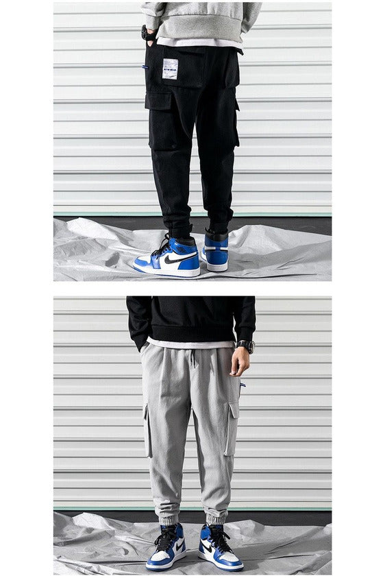 Solid Cargo Joggers Pocketed Pants