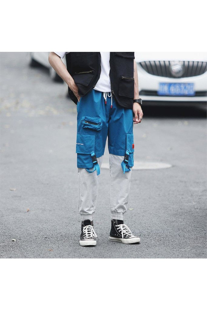 Color Block Cargo Pants Ribbon Joggers Patchwork Track Pants
