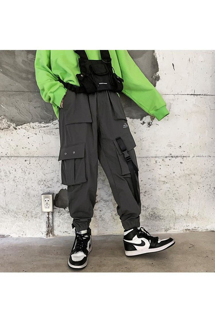 Thick Cargo Hip Hop Ribbons Track Pants - SKYCLUB