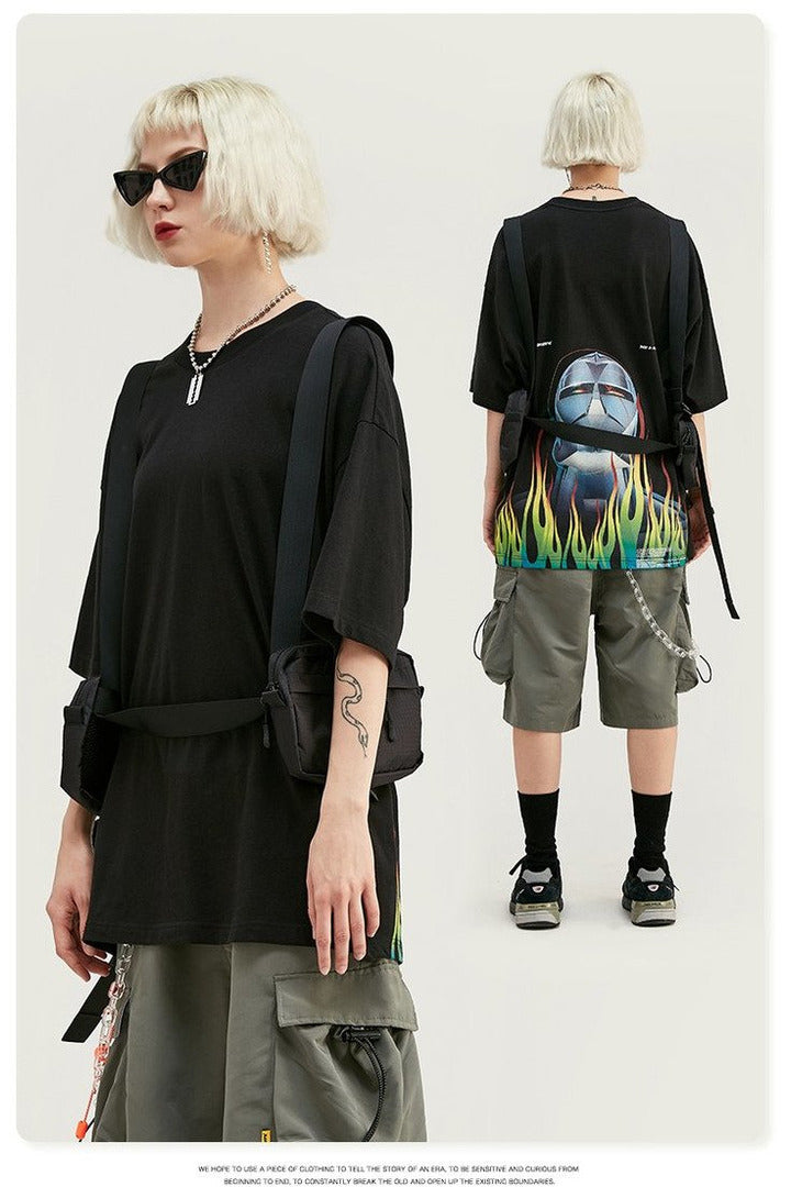 Flame Print Oversized  Short Sleeve T Shirt - SKYCLUB