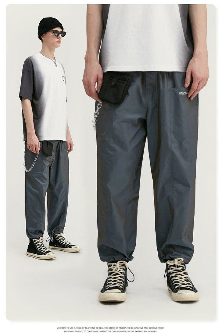 Drawstring Broadcloth Straight Jogger Pants - SKYCLUB