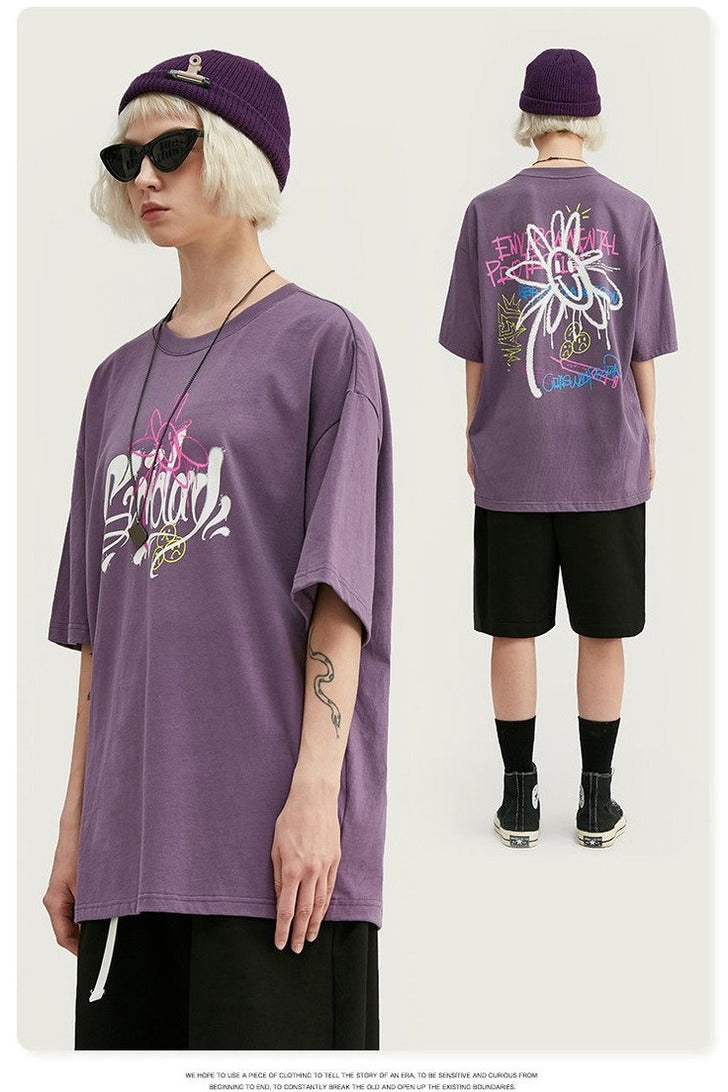 Graphic Graffiti Print Short Sleeve Cotton Tee - SKYCLUB