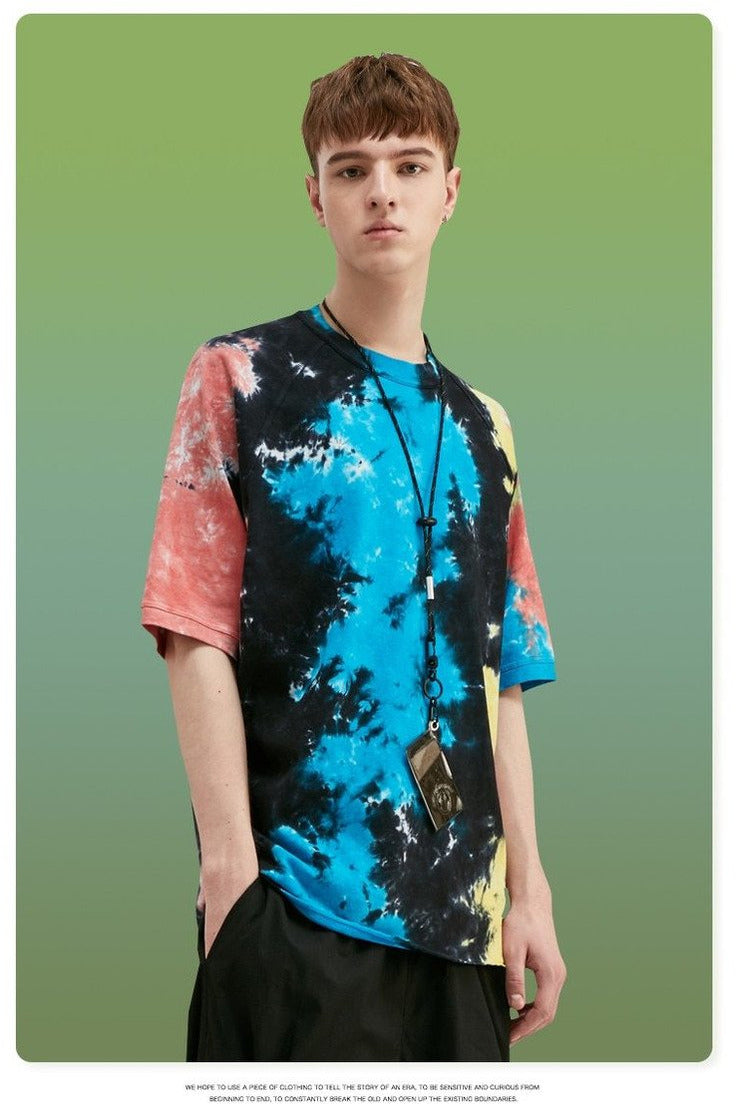Oversized T-shirt With Tie Dye Cotton - SKYCLUB
