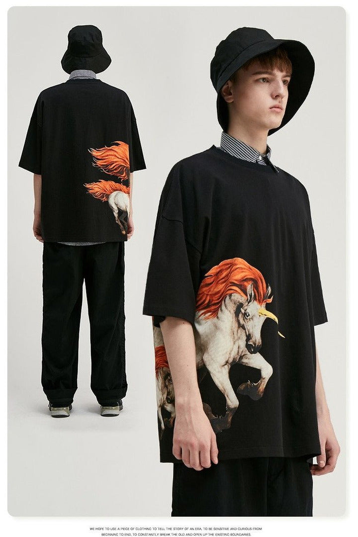 Animals Printing Tshirt Streetwear Men Oversized - SKYCLUB