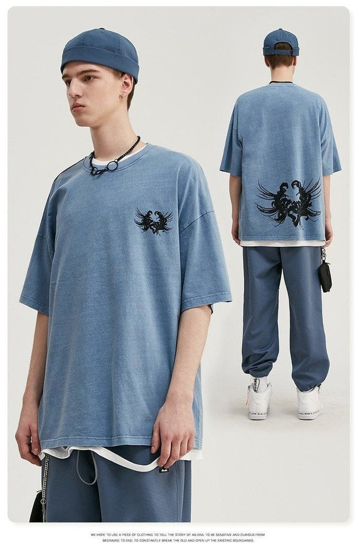 Oversized T-shirt Simple Style Boys Streetwear - SKYCLUB