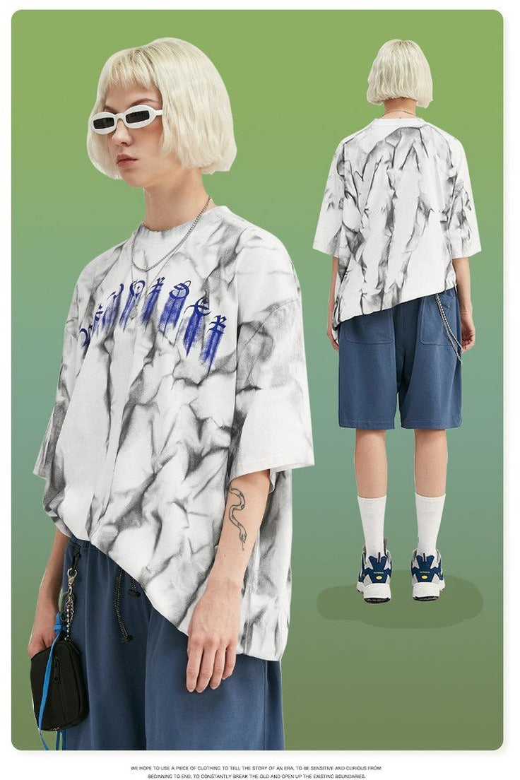 Summer Tshirts Oversized Irregular Printing Men - SKYCLUB