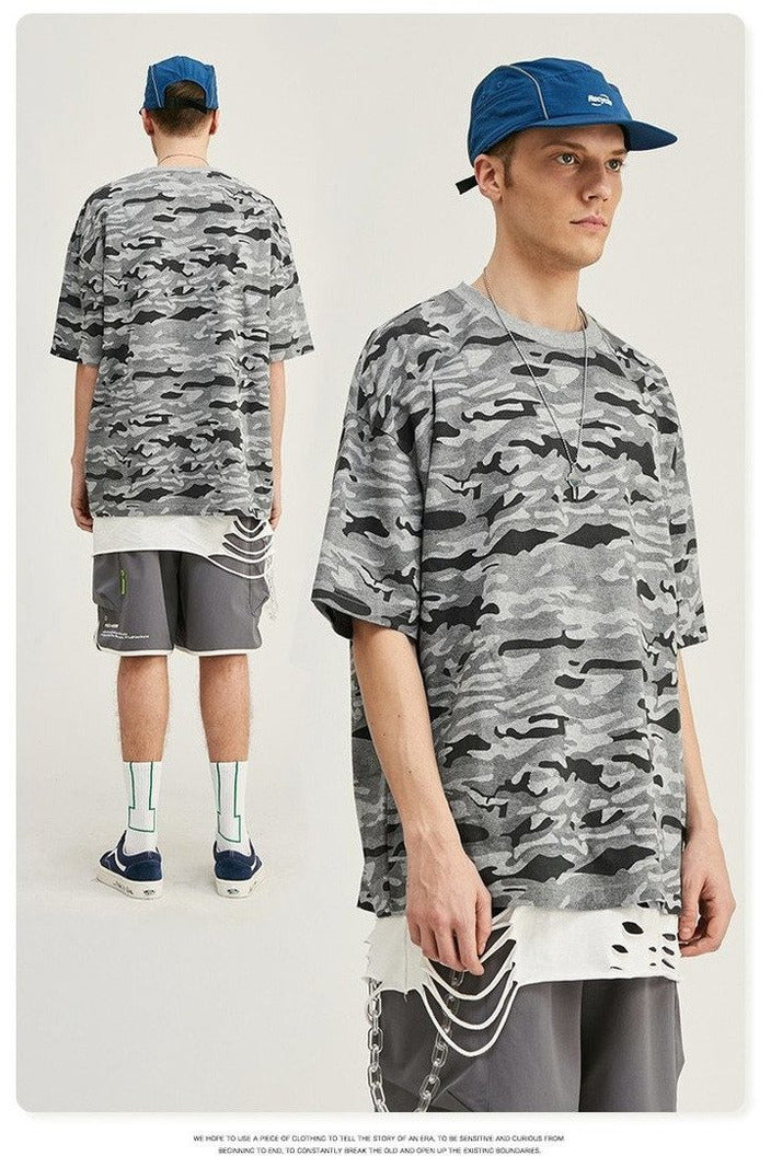 Oversized Camo Tshirt Loose Fit Hip Hop - SKYCLUB