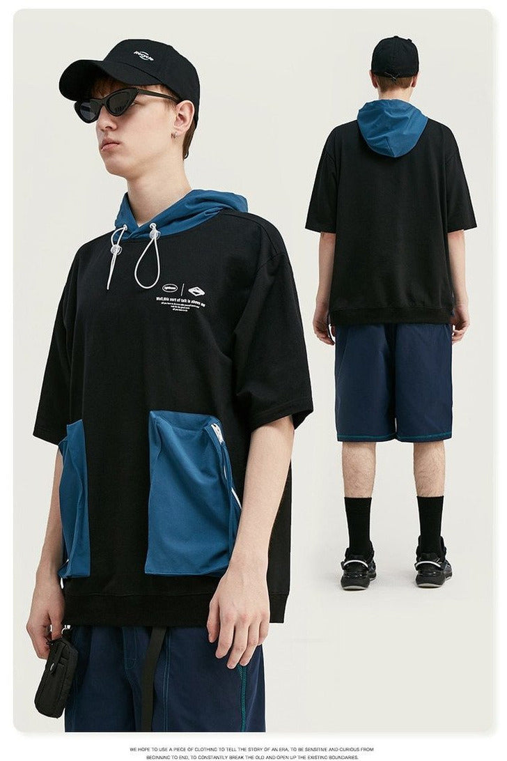 Oversized T shirt Hip Hop Men Hooded Streetwear - SKYCLUB