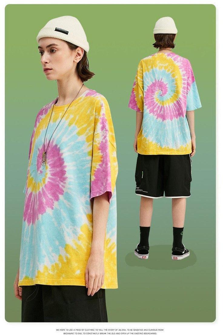 T-shirt In Spiral Tie Dye Wash - SKYCLUB