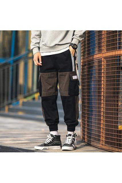 Patchwork Streetwear Overalls Joggers Sweatpants Trousers - SKYCLUB