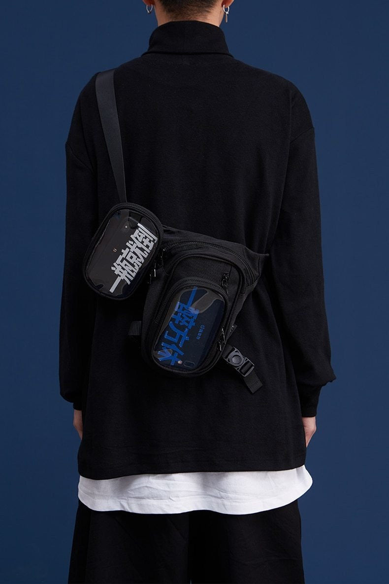 Streetwear Man Shoulder Bags Black Color - SKYCLUB