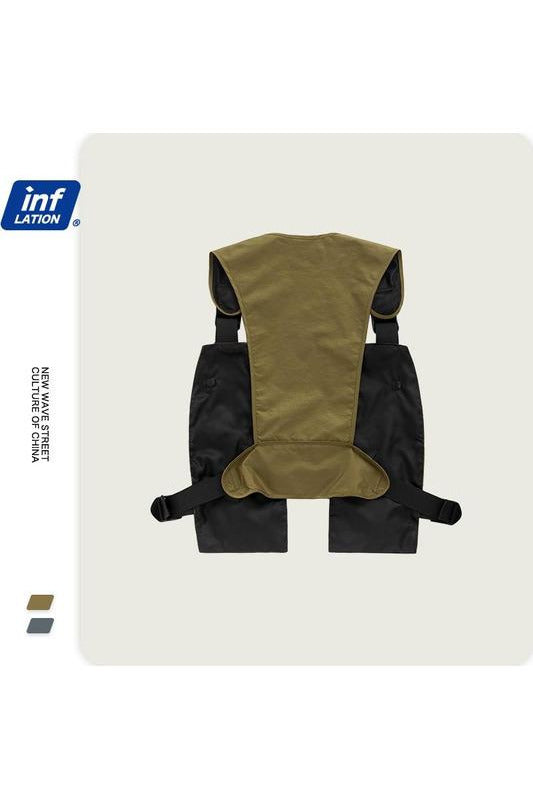 Utility Cargo Gilet In Black And Khaki - SKYCLUB