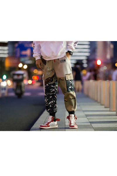 Camo Color Block Cargo Harem Patchwork Pants