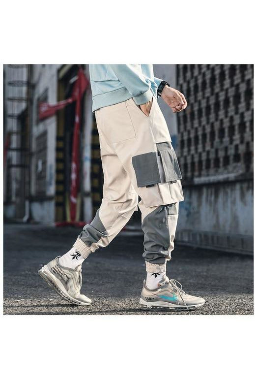 Dual Color Drawcord Cargo Jogger Pants - SKYCLUB