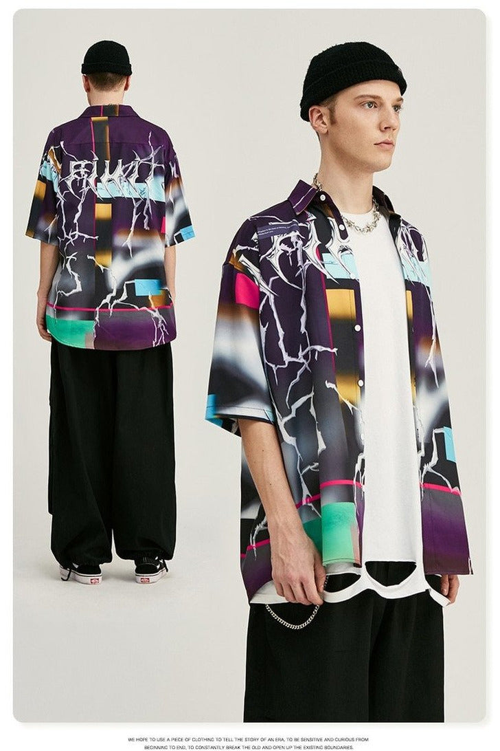 Digital Print Loose Short Sleeve Shirt