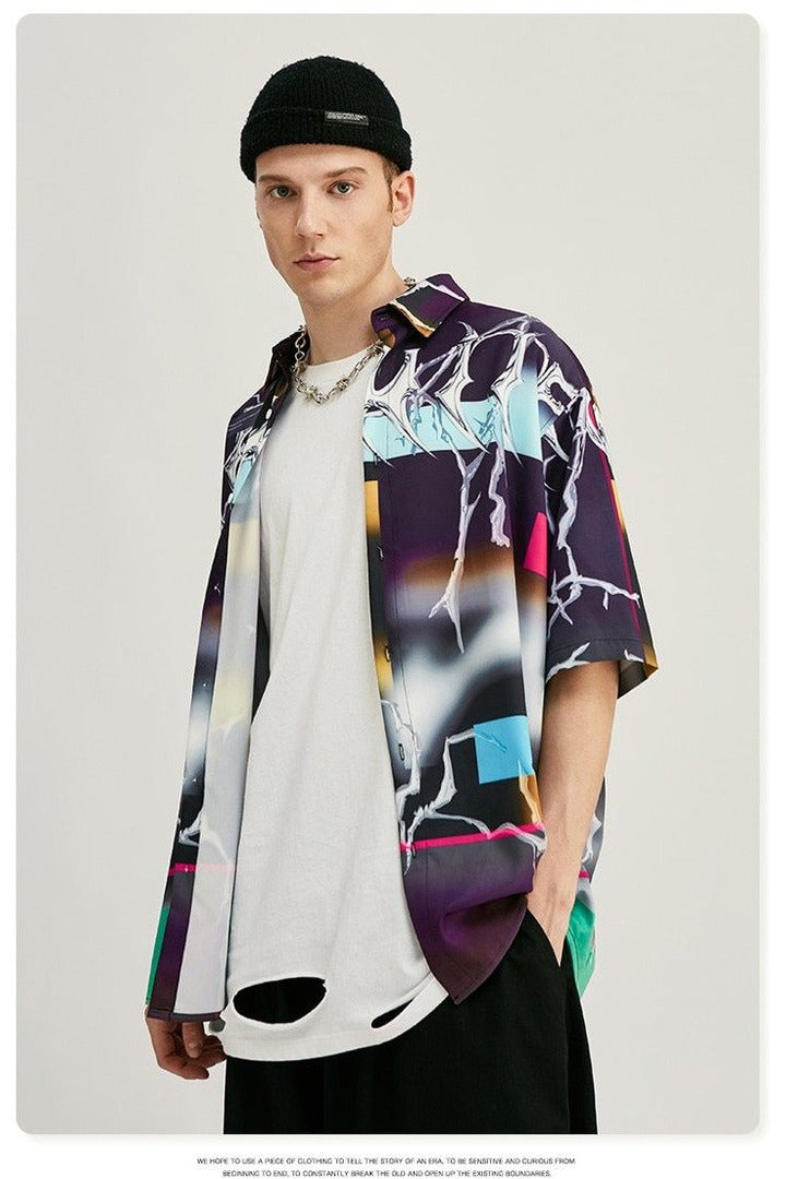 Digital Print Loose Short Sleeve Shirt - SKYCLUB