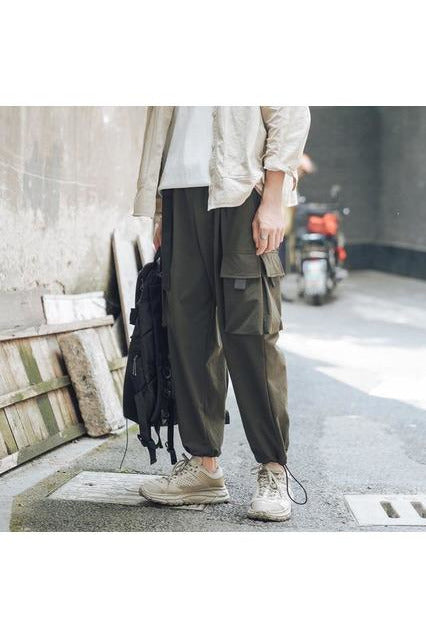 Dual Color Draw Cord Cargo Jogger Pants - SKYCLUB