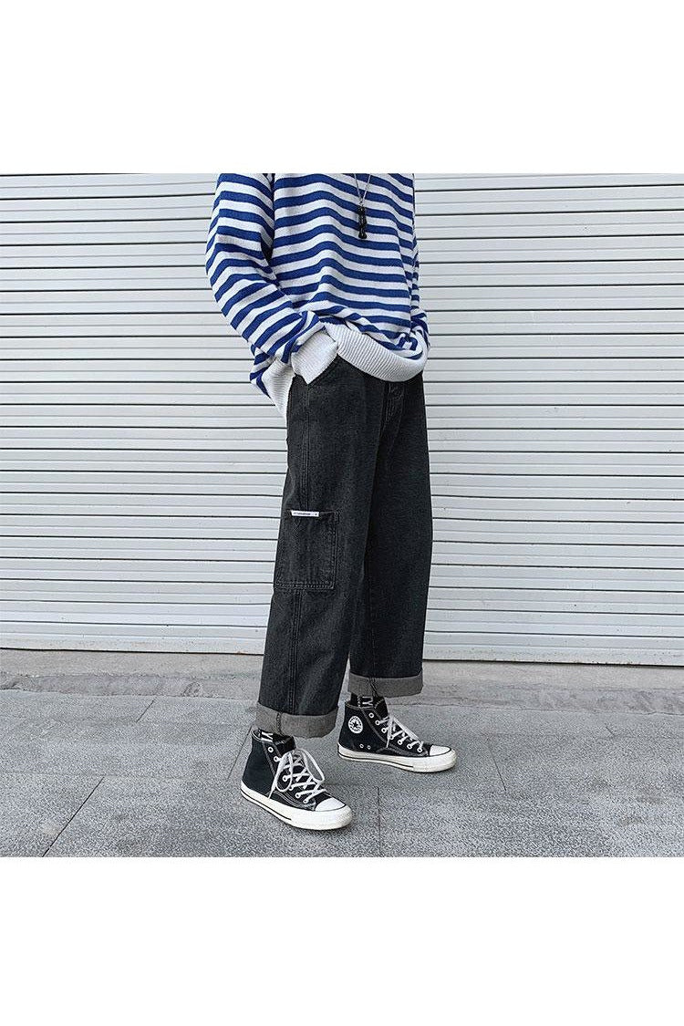 Acid Wash Lapped Cuffed Straight Cargo Pants - SKYCLUB