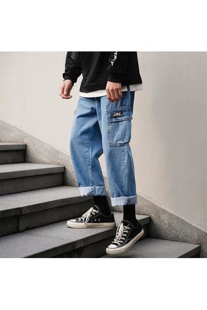 Lapped Cuffed Straight Cargo Pants - SKYCLUB