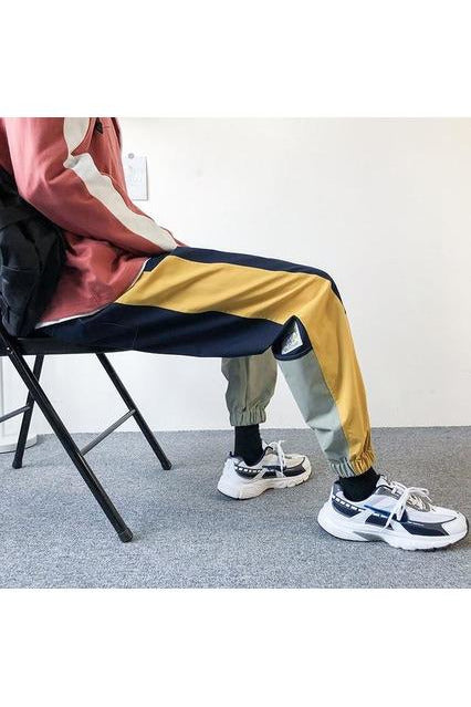 Patchwork Side Striped Color Block Trousers Pants