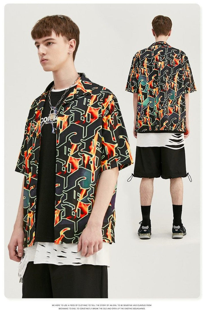 Digital Print Short Sleeve Flame Shirt - SKYCLUB
