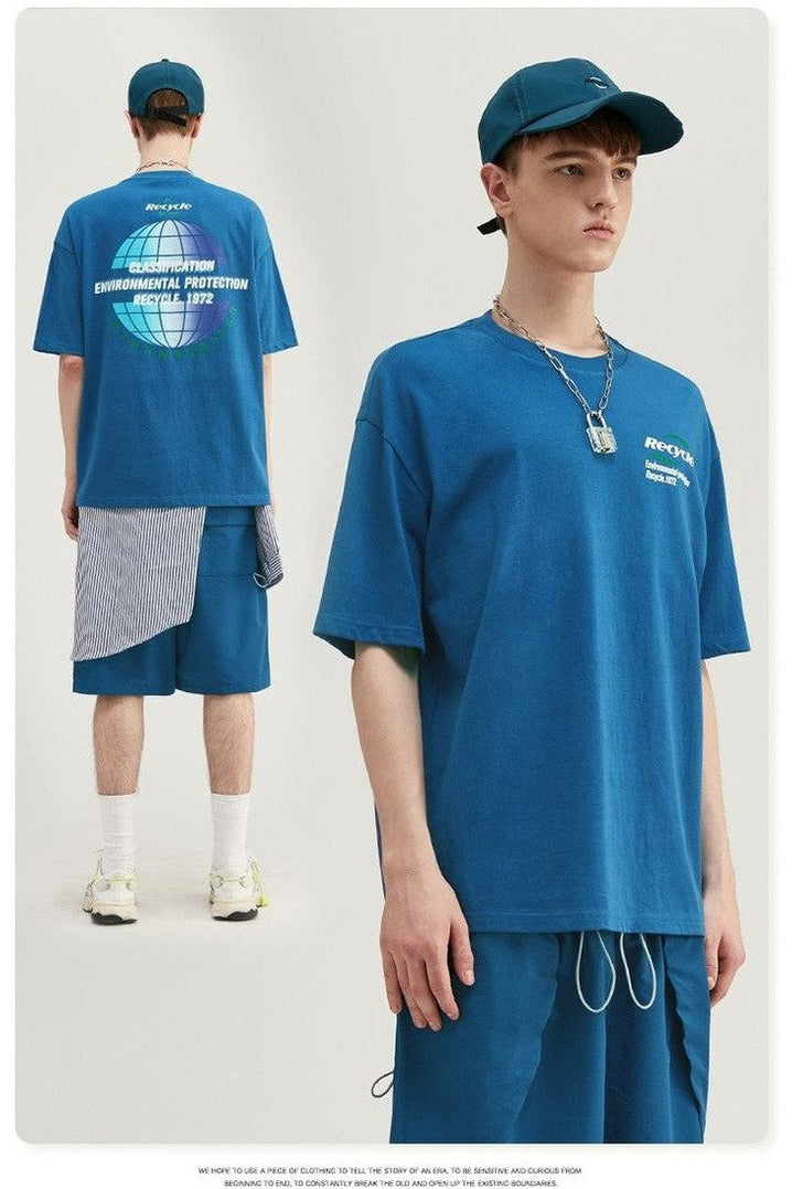 Cotton O-neck Recycle Short Sleeve Tee - SKYCLUB