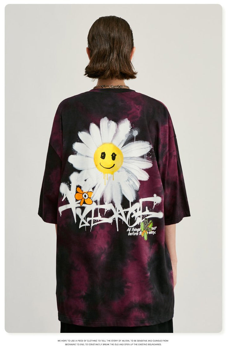 Tie Dye Washed Summer Daisy Flower Tee Shirt