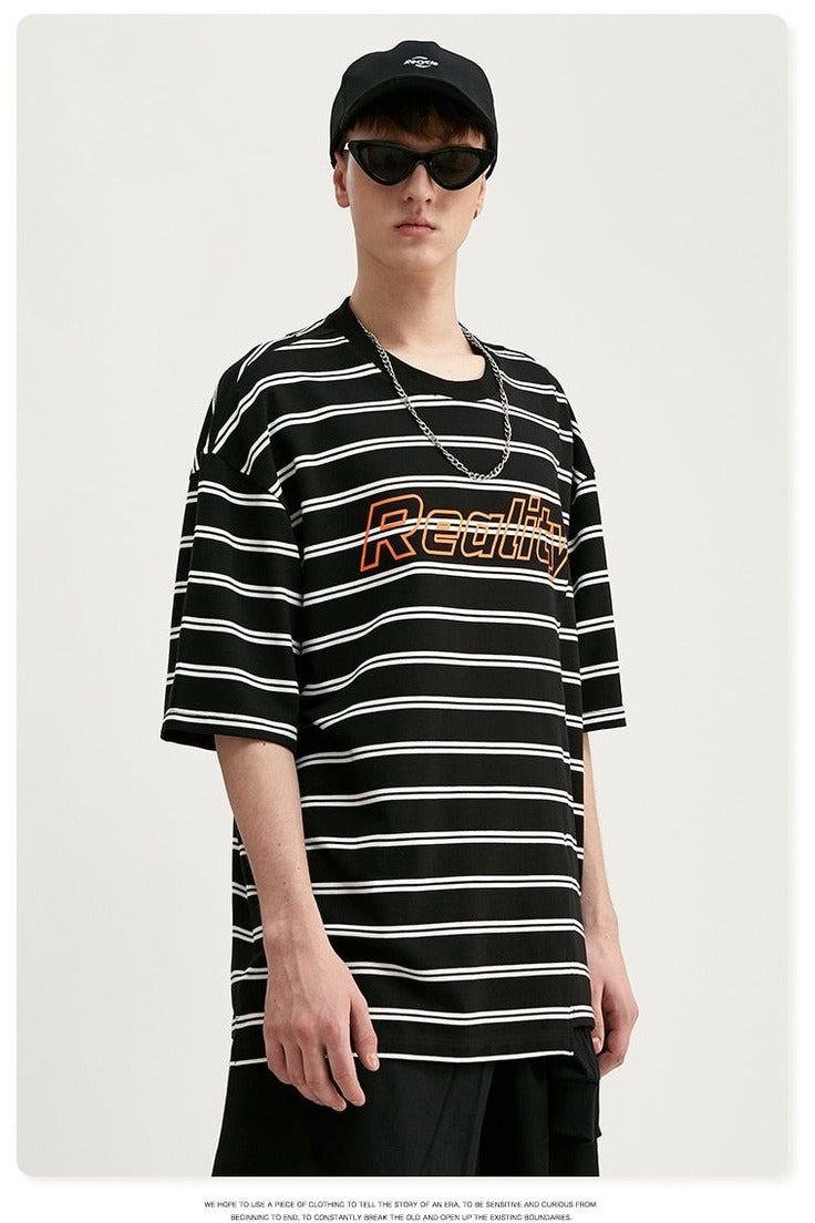 Recyclable Print Stripe Oversized Short Sleeve Tee Shirt