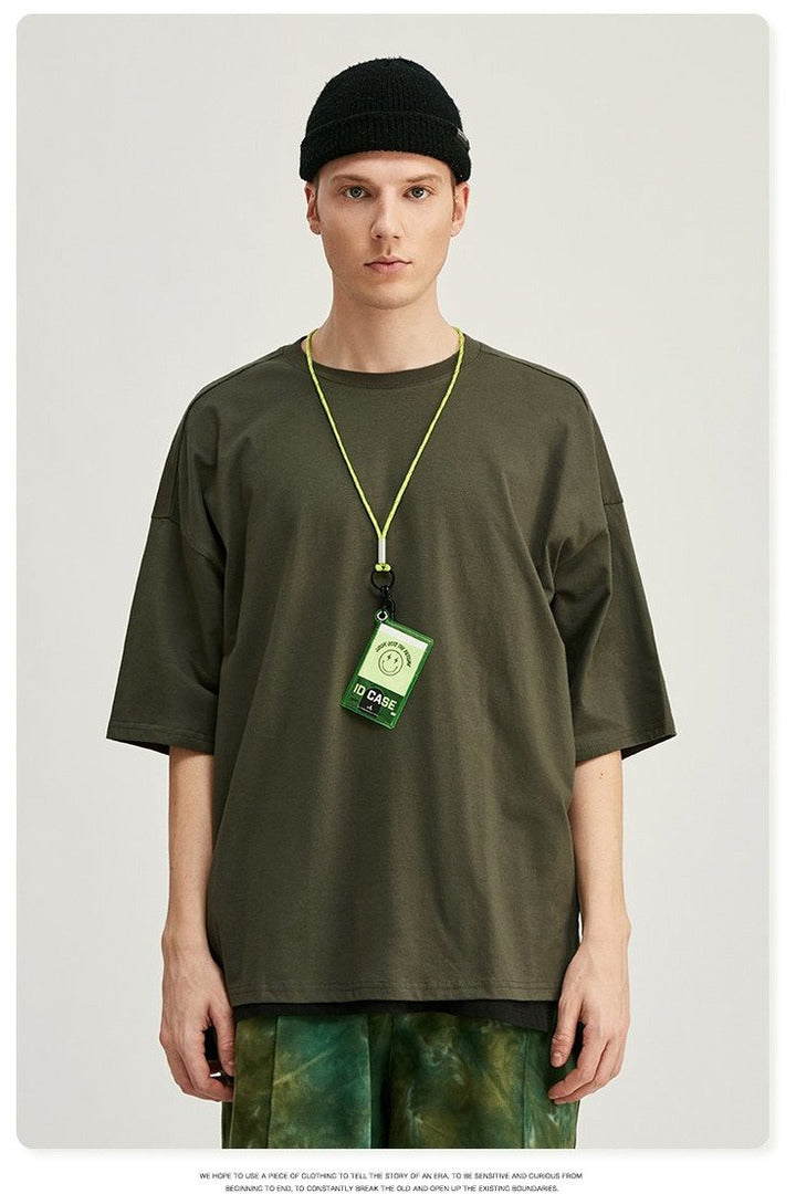 Summer Solid Men Oversized T Shirt O-Neck - SKYCLUB