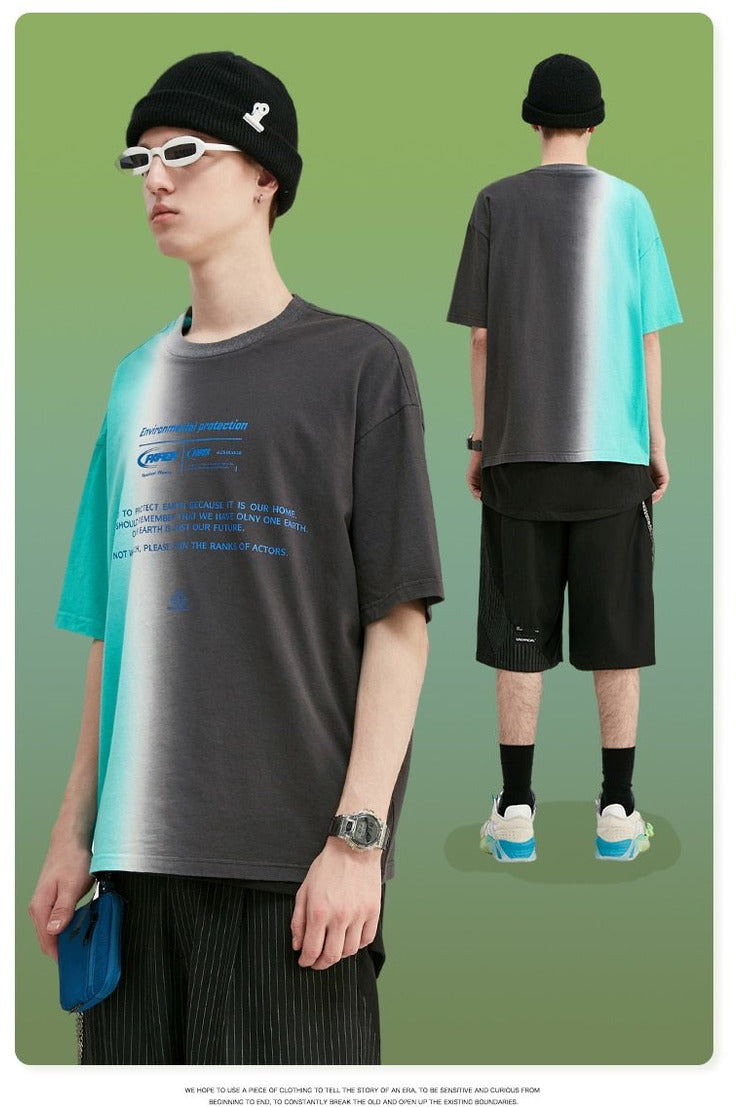Environmental Print Oversized Dip Dye Men Tee Shirt