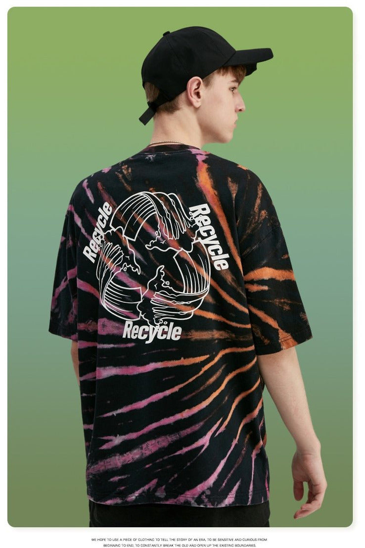 Recyclable Print Tie Dye Tee Shirt