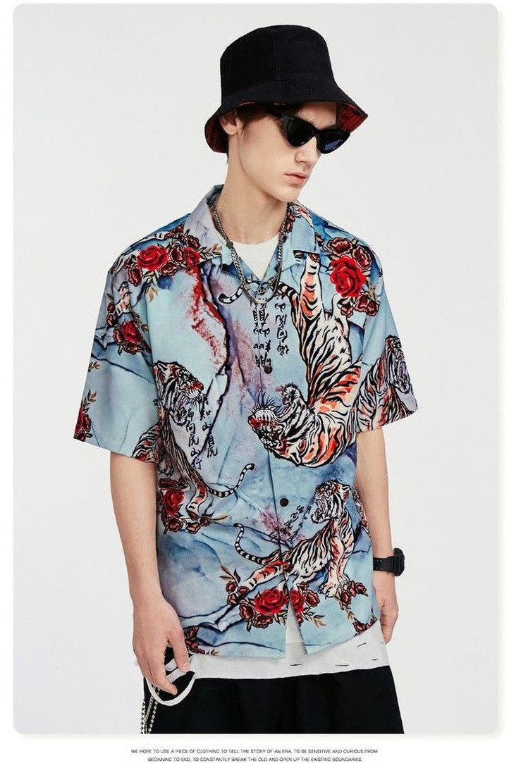 Hawaiian Fashions Short Sleeve Shirt Loose Fit - SKYCLUB