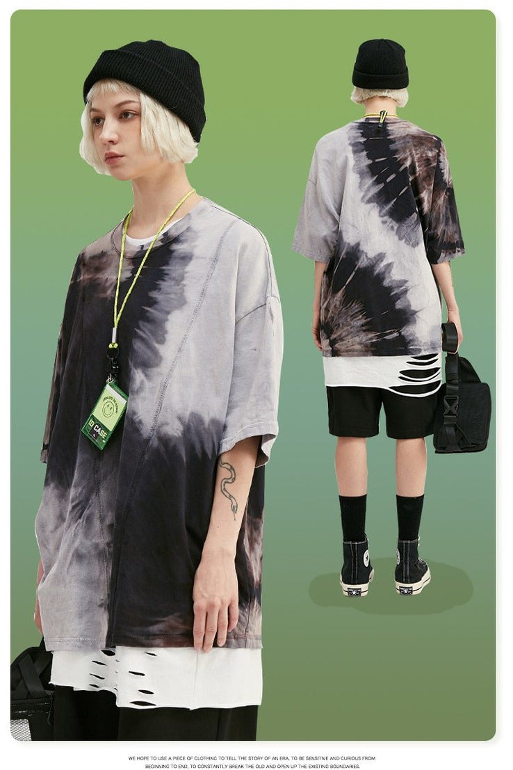 Tie Dye Oversized Distressed Hem Tee Shirt