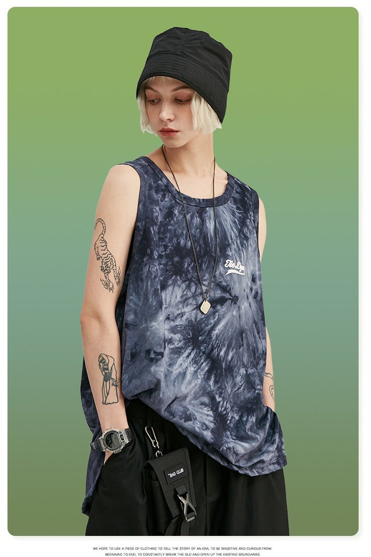 Spiral Tie Dye Loose Fit Tank Top