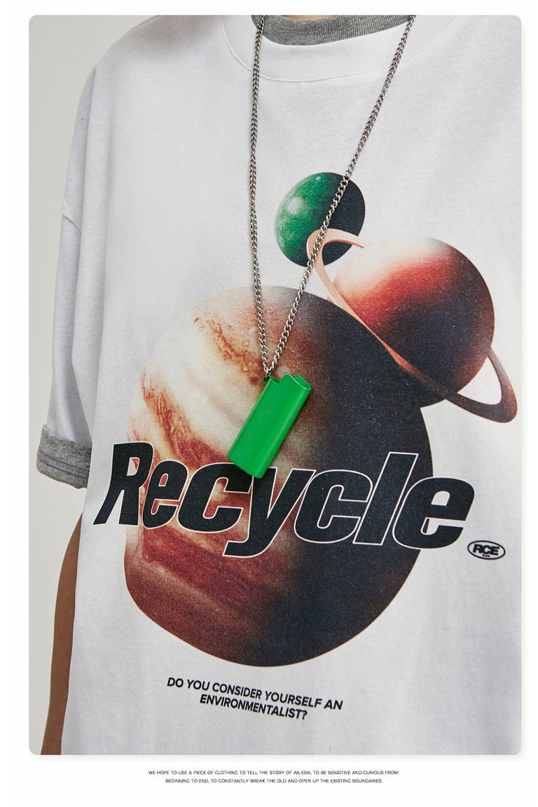 Recyclable Environmental Oversize Graphic Tee Shirt