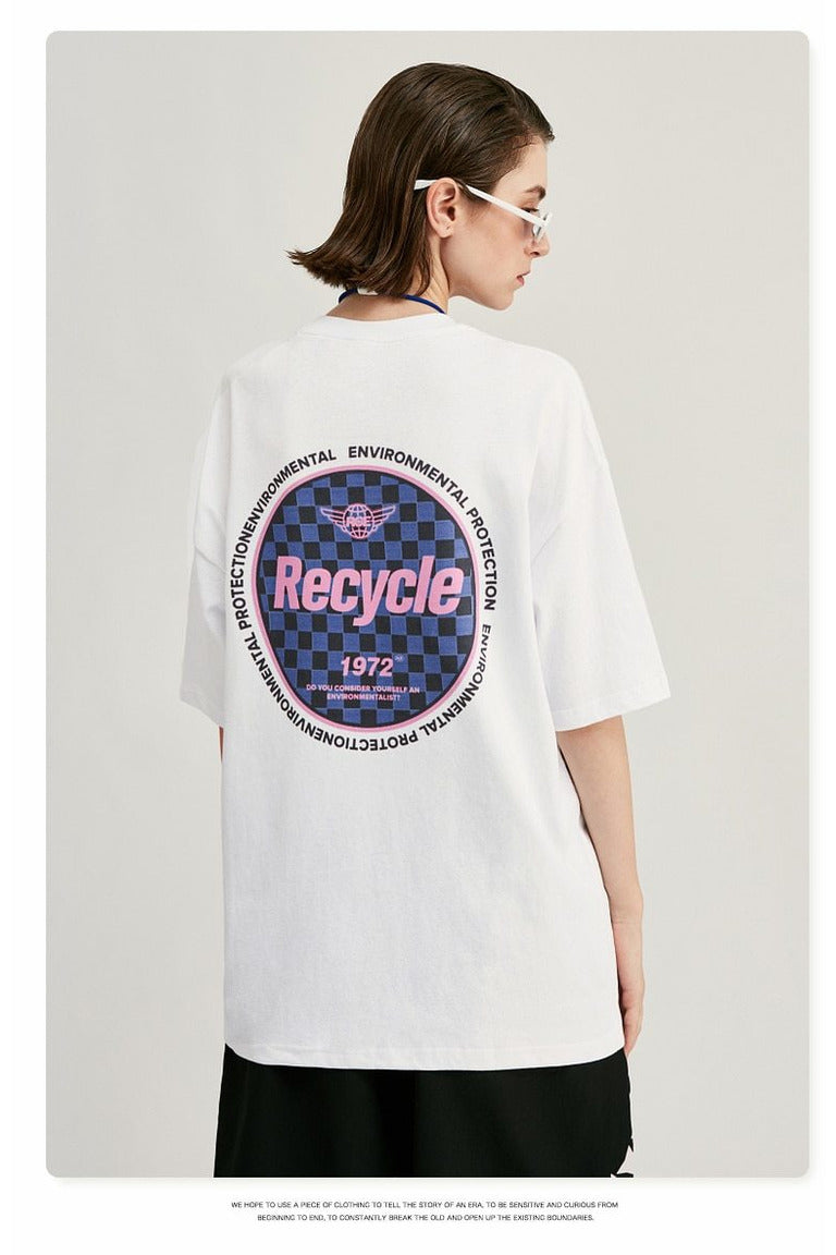 Recyclable Environmental Print Cotton Tee Shirt