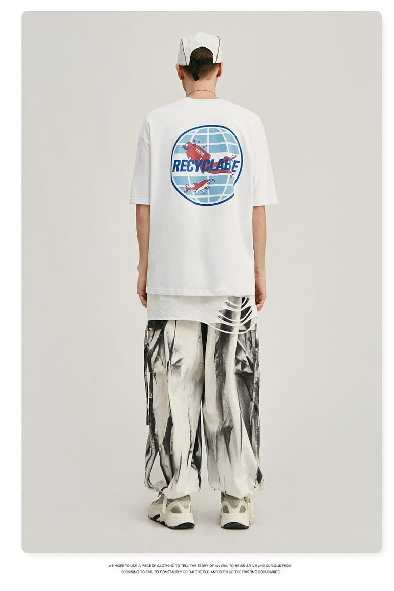 Recyclable Environmental Print Oversized Tee shirt