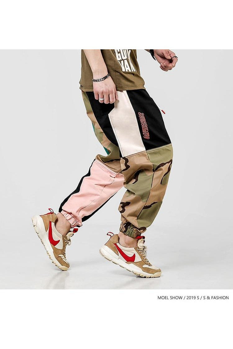 Camo Color Block Cargo Harem Trousers Pants