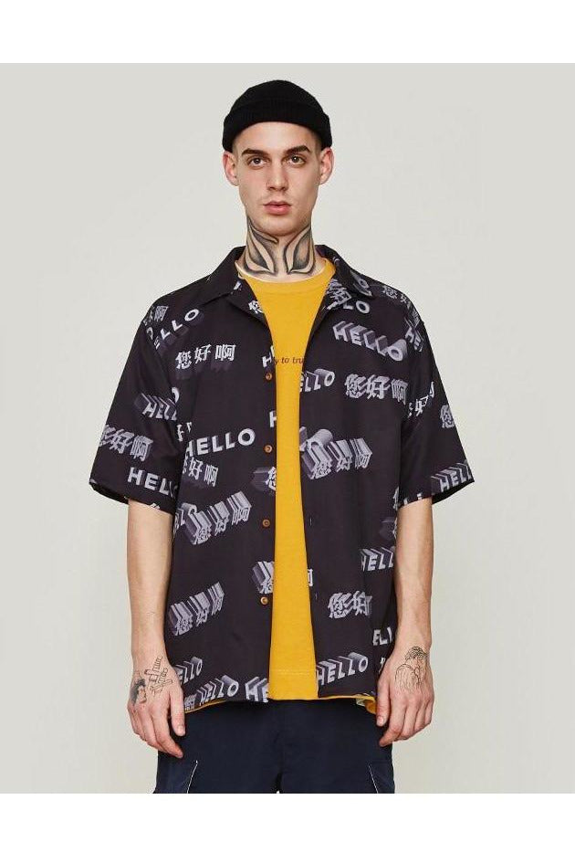 Hello Zhongwen Loose Fit Graphic Shirt - SKYCLUB
