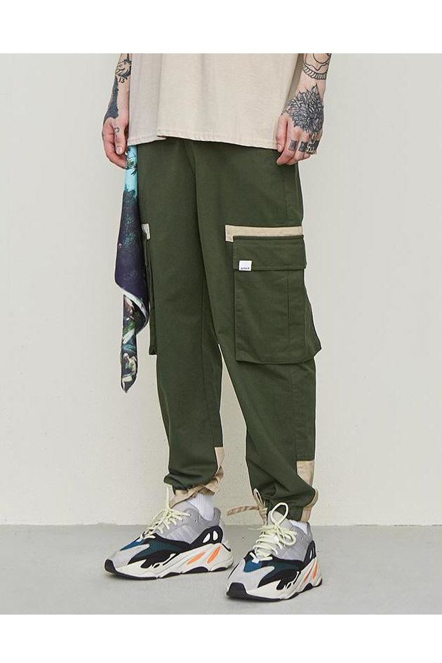Solid Contrast Trim Drawstring Cargo Trouser Pants - SKYCLUB