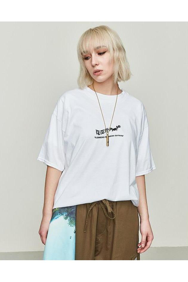 Astronaut Rose Print Loose Fit O-Neck Tee - SKYCLUB