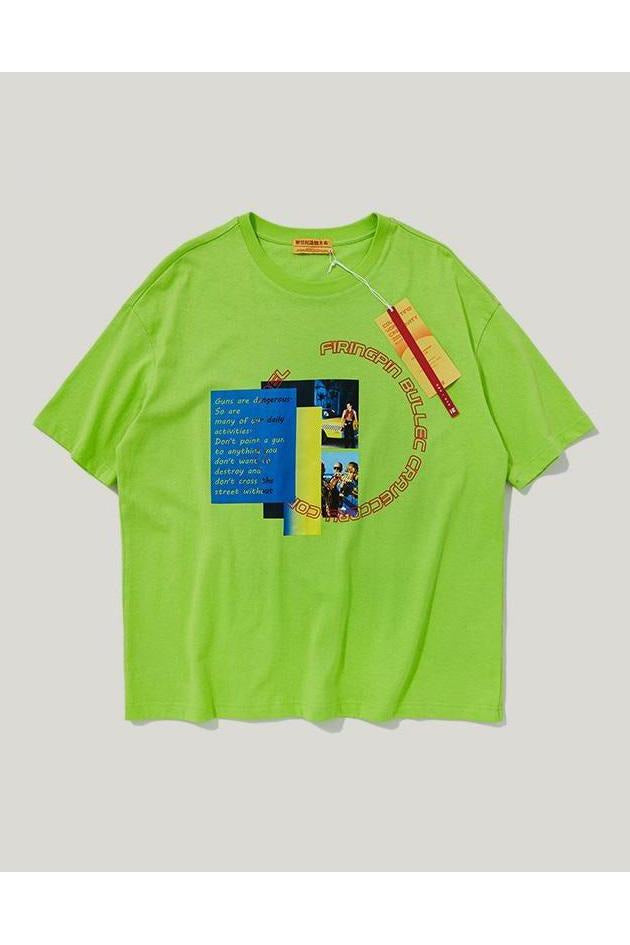 Fluorescent Graphic Print Loose Tee - SKYCLUB