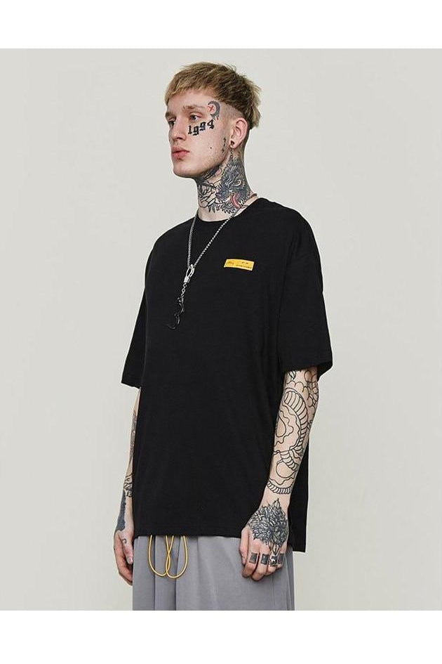 Lettering Yellow Long Ribbon Short Sleeve Tee - SKYCLUB
