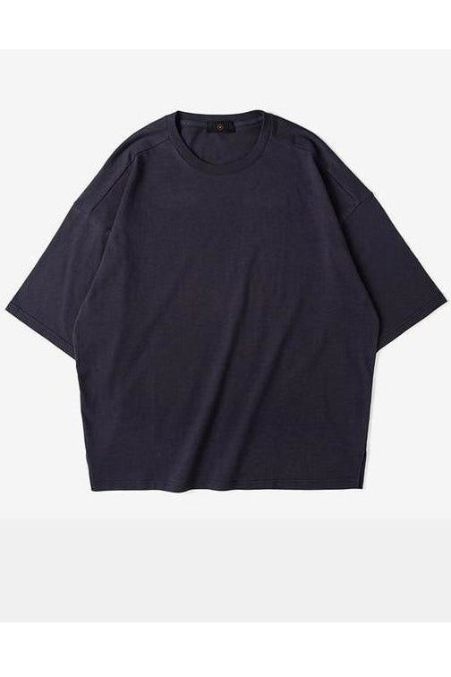 Solid Elbow Length Crew Neck Cotton Oversized Tee - SKYCLUB