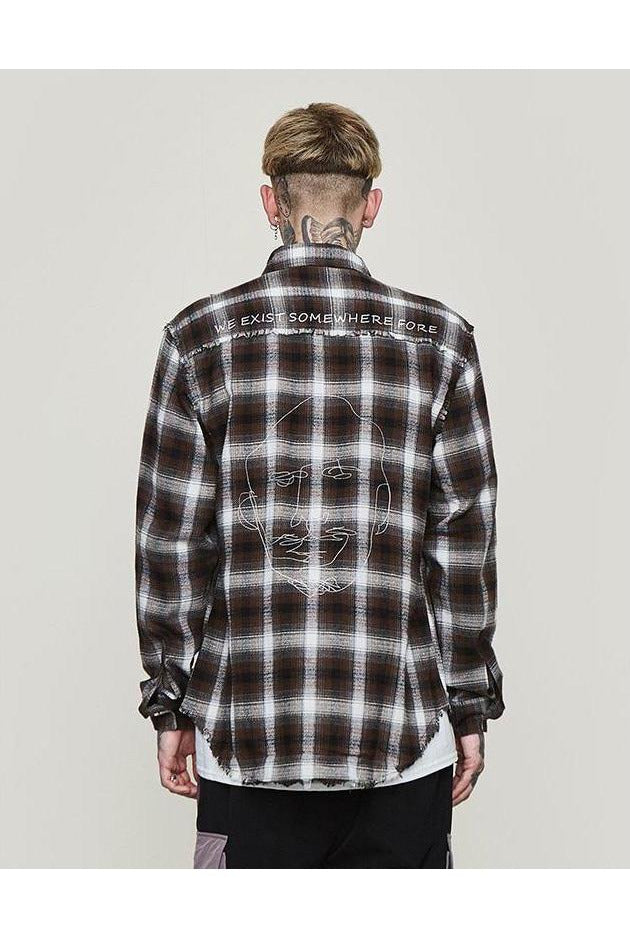 Vintage Loose Plaid Long Sleeve Shirt - SKYCLUB