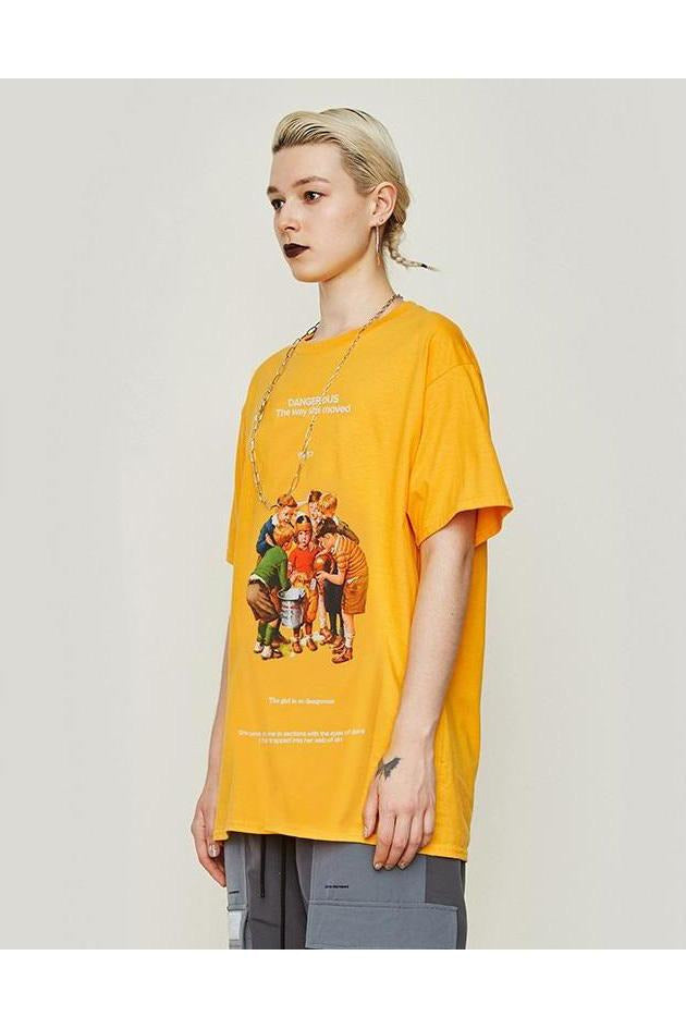 Dangerous Graphic Loose Fit O-Neck Tee - SKYCLUB