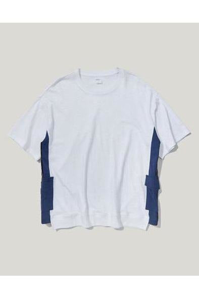 Side Pocket Contrast Color Stitching Round Neck Loose Tee - SKYCLUB