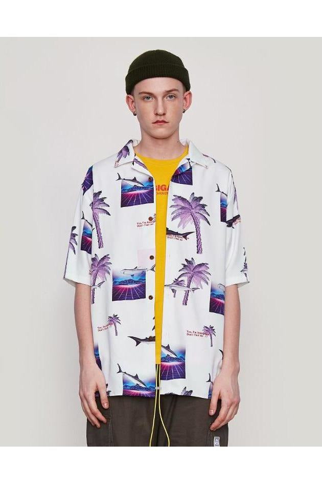 Coconut Tree Beach Digital Print Shirt - SKYCLUB